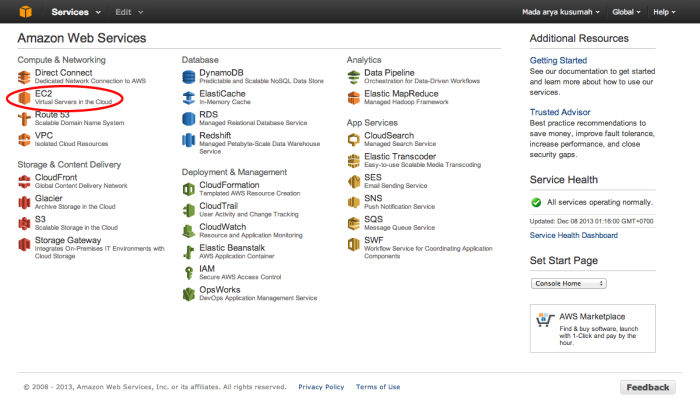 AWS Console Page